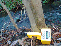 Fluorometer used to calculate discharge (flow rates) of the urban watercourse